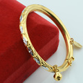 4mm Dia.45mm Baby Toddler Kids White Engraving Rhombus Yellow Gold Plated Bangles Bracelets Open Jewelry