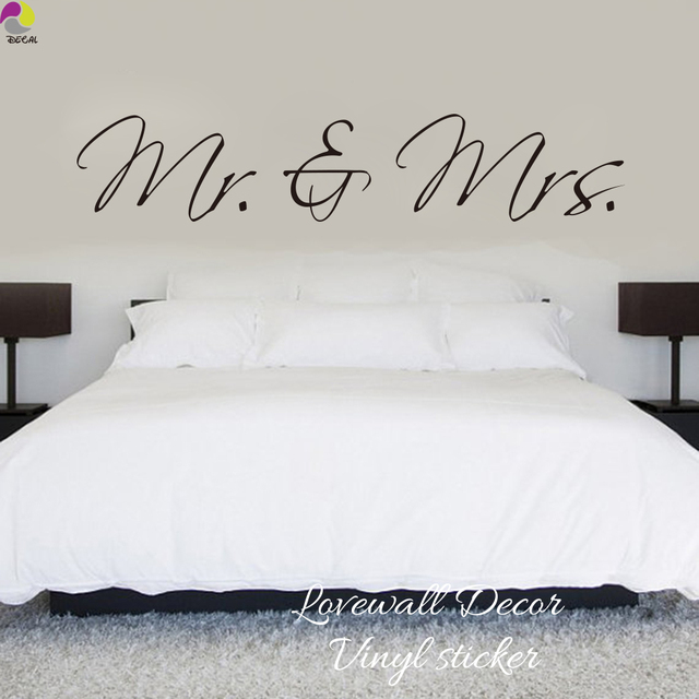 Mr U0026 Mrs Wall Sticker Bedroom Sofa Wedding Room Party King Queen Love Quote  Wall Decal