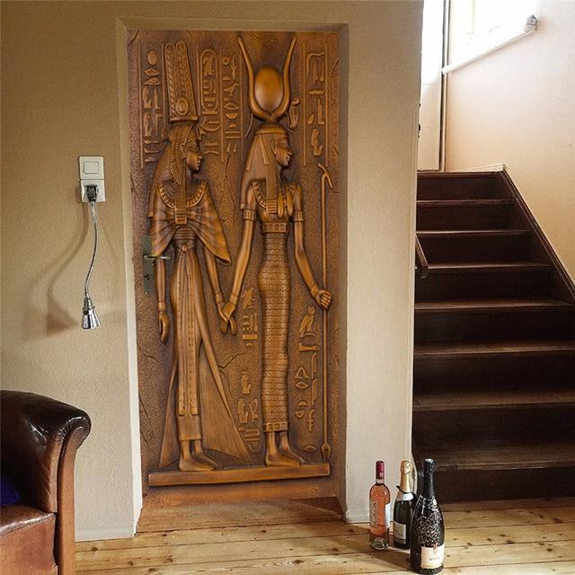 Фото европейский стиль ретро стикер двери 3d египетские скульптурные цена