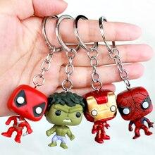 FUNKO POP 4Pcs/Set Marvel Avengers: Endgame Iron Man Spider Man Hulk Deadpool Keychain Action Figure Toys For Children Gift