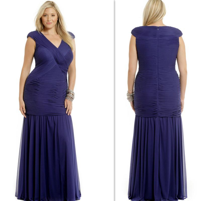 Navy Blue Plus Size Prom Dresses Cap Sleeves V Neck Pleated Chiffon