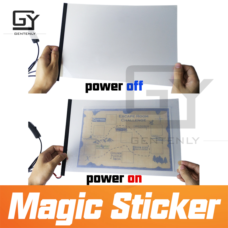 Escape room props Magic sticker for real life adventure power on amazing sticker to see hidden
