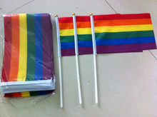 100 pcs Les Hand Waving decoration party LGBT Carnival parade Rainbow flag Gay Pride Bunting 14x21cm