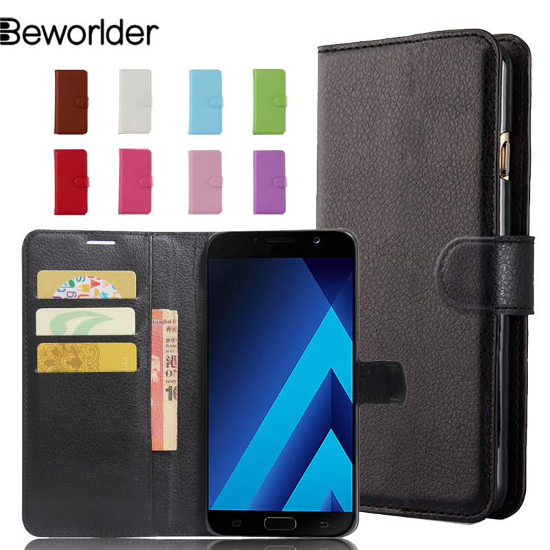 save off aa4be 196a8 US $4.45 10% OFF|Aliexpress.com : Buy Beworlder For Samsung Galaxy A7 2017  Case A720 Cover Lichee Pattern Flip Wallet Card Slots PU Leather Case For  ...