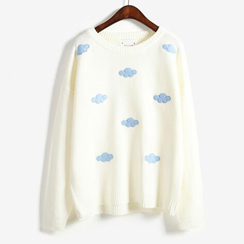 Harajuku Women Fall Winter High End Embroidery Sweater Dimensional Cloud Embroidery Knitwear Japanese Ladies Pullovers Tops