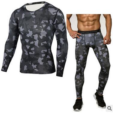 100% QualitäT Camouflage Kompression Shirt Kleidung Langarm T-shirt + Leggings Bodybuilding Crossfit Mode Anzug Sportwear Quick Dry
