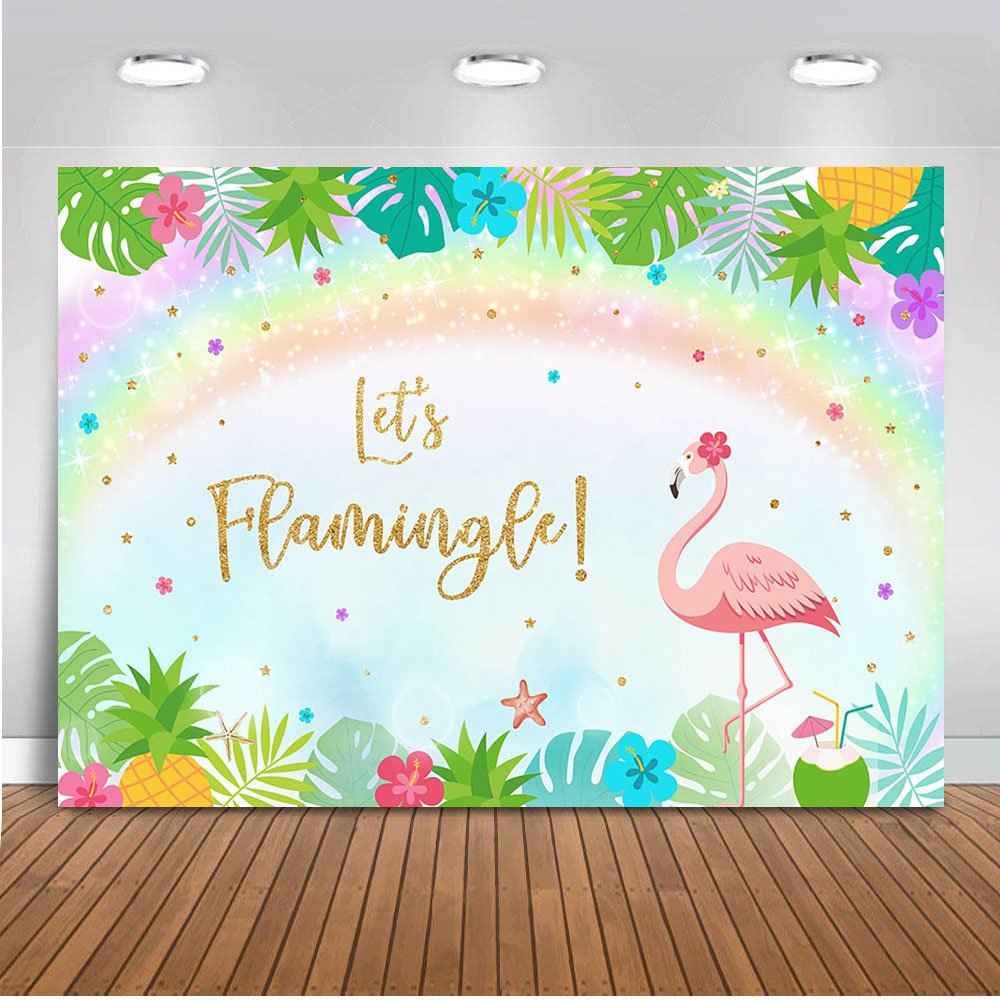 Vamos Flamingle Neoback Flamingo Decoração Do Partido Do Tema Da Bandeira de Fundo para a Fotografia Fundo Da Foto do Aniversário Do Bebê Recém-nascido