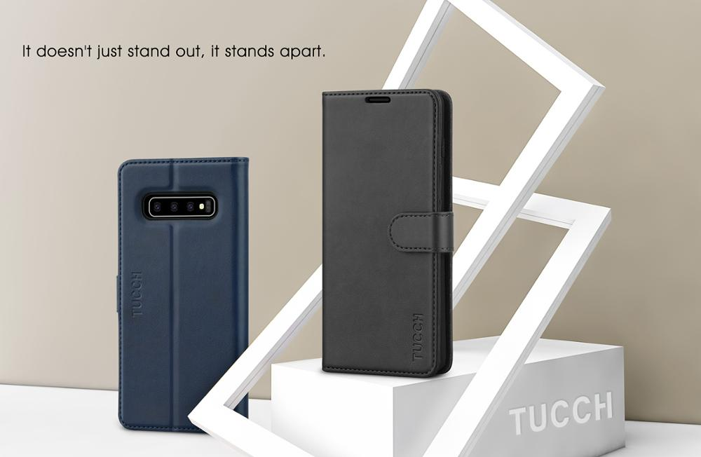 TUCCH Galaxy S10 Case, PU Leather [Stand] Flip Folio Wallet Case [Credit Card Slots] [RFID Blocking] [Slim Book Cover]