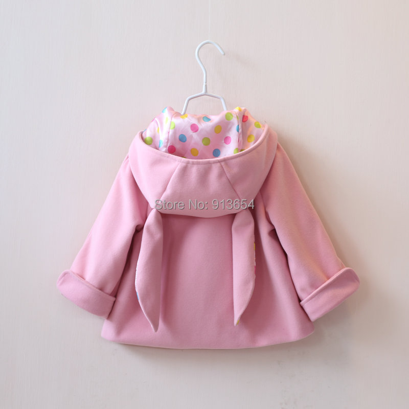 2015 spring autumn girls coat children clothing overcoat baby Cartoon rabbit WOOL COATS jacket kids Casual outerwear - Sunny Baby fashion Store store
