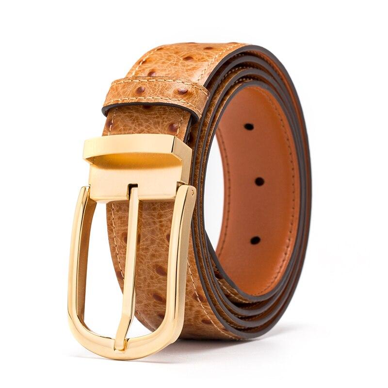 Cinturón de cuero genuino hombres patrón de avestruz piel de vaca cinturones masculinos para hombres cinturón dorado diseñador de alta calidad marca de lujo