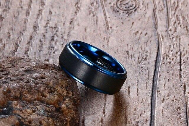 Фото модная бижутерия 1 шт модное простое 8 мм черное матовое вольфрамовое цена
