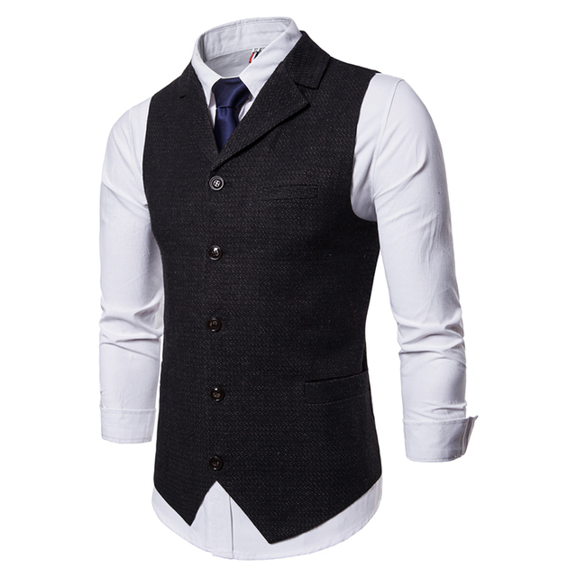 IEF.G.S Men's Fashion Vest Speckle Waistcoat High-end Business Leisure Single Row Button Slim Vest Match Suit for  Autumn Winter