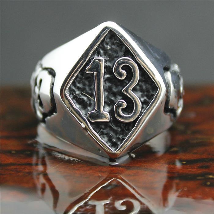 2015 Cool 316L Stainless Steel Silver Biker 13 Skull Ring Mens Motorcycle Biker Band Party 13 Skull Ring