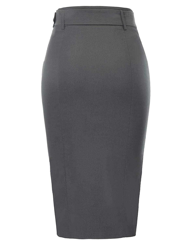 Femmes Porter au Travail de Haute Taille Extensible Slim Fit Midi Crayon Jupe avec Ceinture 5 pièces