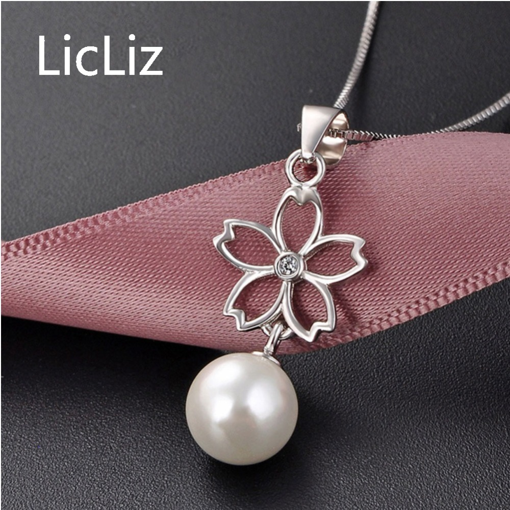 LicLiz New 925 Sterling Silver Freshwater Pearl Flower Pendant Necklaces for Women Round Pearl Zircon Necklace Link Chain LN0422 in Necklaces from Jewelry Accessories