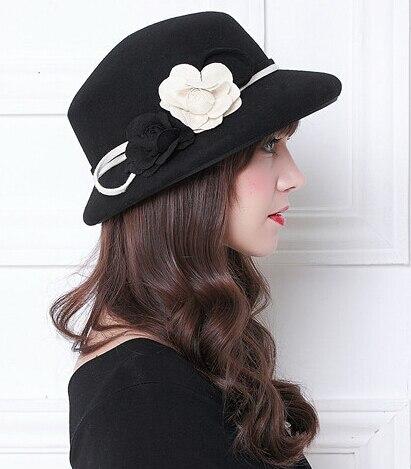 42df3027d1e ... Sweet Cute Cloche Church Derby Floral Bucket Hat S606  hot sale online  8a483 82b99 England Style Ladies Wool Fedoras Hats Black White Flower Wool  Felt ...