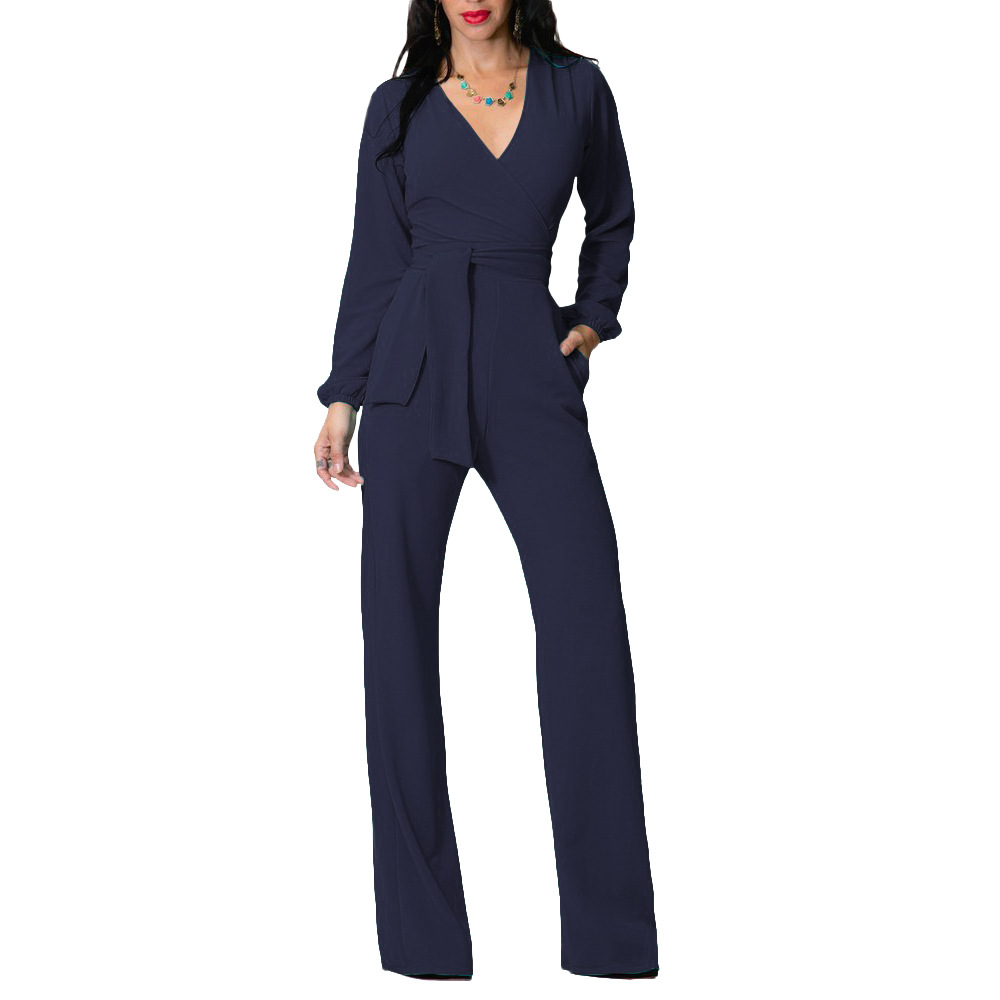 New Fashion Casual Long Sleeve V-Neck Solid Color Women   Jumpsuits   2019 Spring Autumn Red Black Blue office Work Female   Jumpsuit