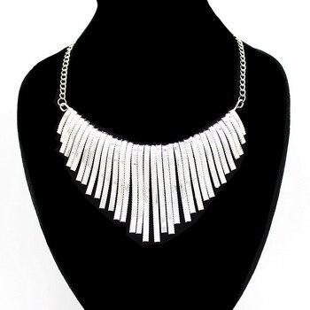 ac617290308d Moda Bohemia oro y plata Color Maxi collar de choque grande grueso babero  collar Collares Grandes Gros Collier Femme 2019