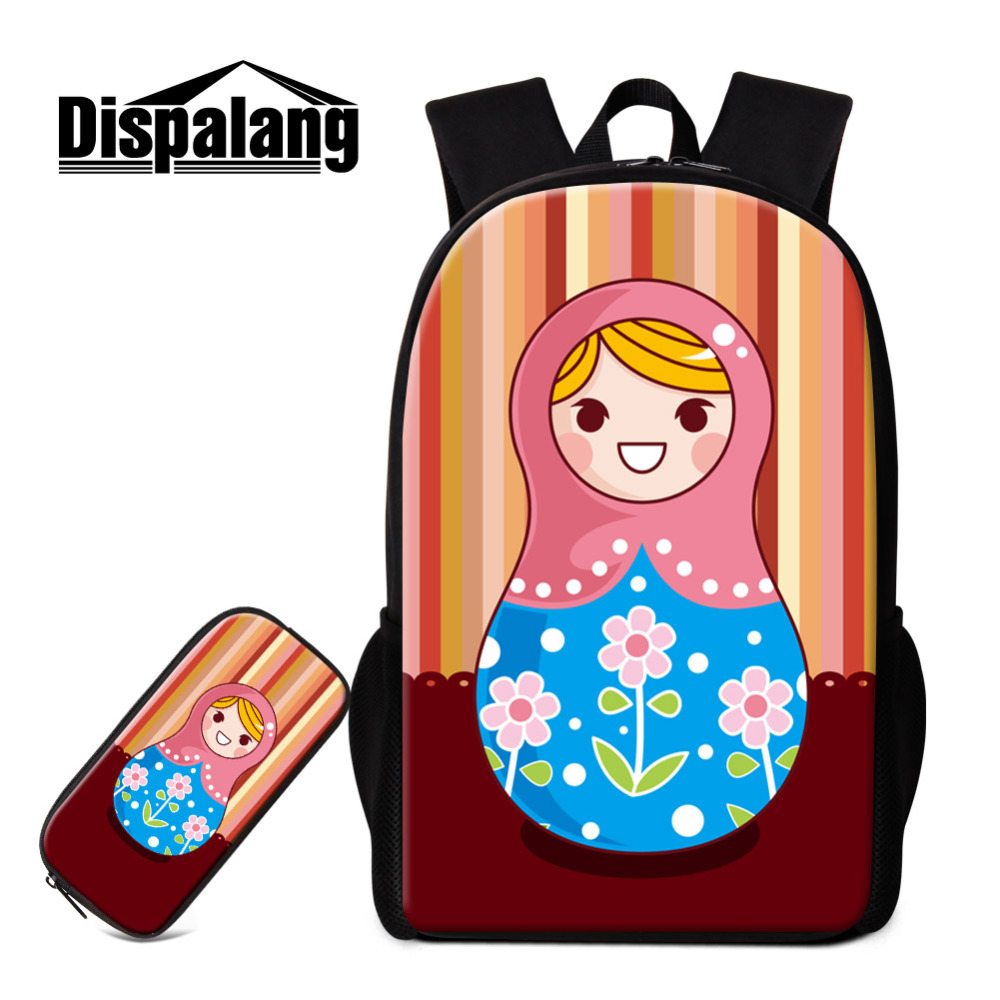 Dispalang Matryoshka Backpack for Teenage Russian Doll Children School Bags with Pencil Bag Sets Girls Boys Book Bag Travel Bag