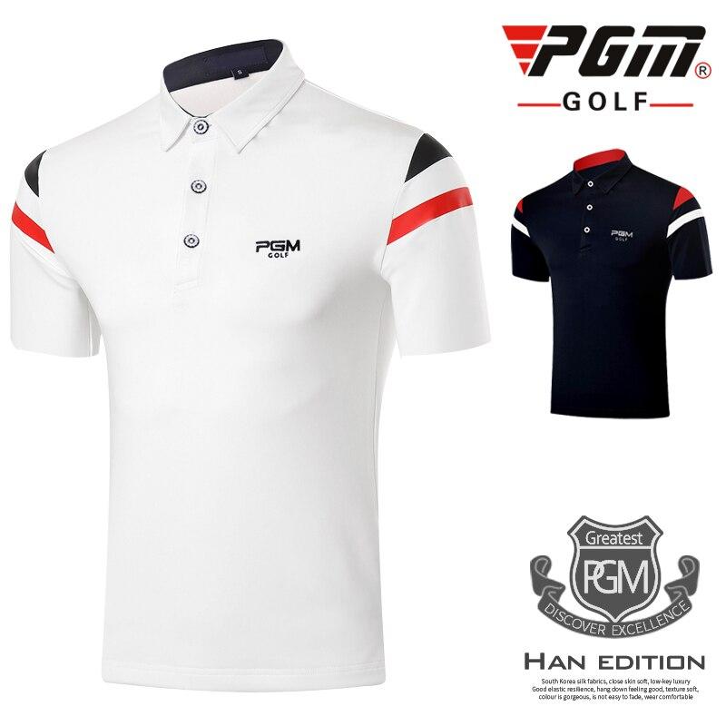 Mens T-shirt PGM Golf Clothing Mens Golf Polo shirts Summer Breathable Elastic Golf Short Sleeved Uniforms