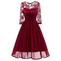 2018 New Brand Spring Dress Women Chiffon Lace Patchwork 3 4 Long Sleeve O Neck Swing