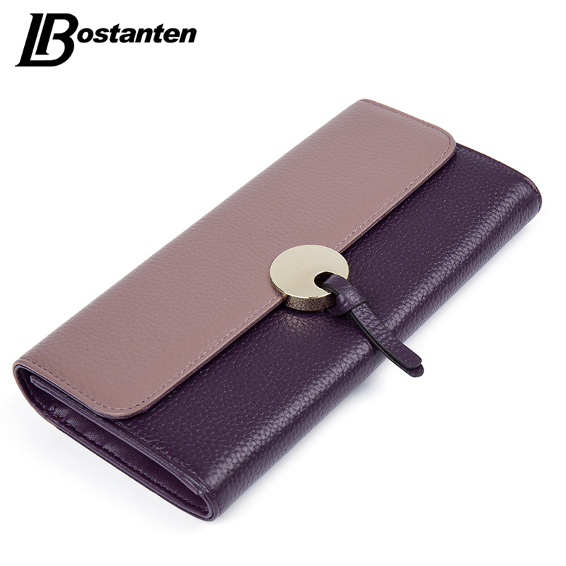 BOSTANTEN 2017 Luxury Brand Women Wallets Genuine Leather Coin Purse Famous Brand Long Womens Purses Real Leather Female Wallets цена