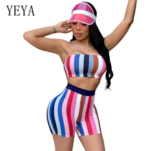 YEYA Sexy Rompers Womens Jumpsuit Two Piece Set Strapless Backless Striped Playsuit Party Club Bodycon Bodysuits Summer Overalls