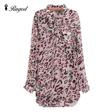 2016 New Women Leopard Chiffon Shirt Blouse Loose Long Sleeved Spring Autumn Fashion Clothing Elegant Female Tops Blusas