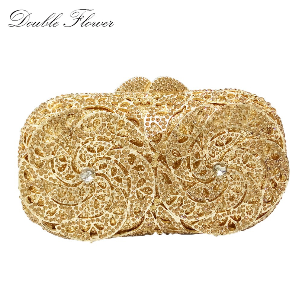 Gold Plating Flower Hollow Out Topaz Crystal Evening Wedding Prom Box Clutch Handbag Purse Metal Hard Case Clutches Bag pink crystal flower floral fashion wedding bridal hollow metal evening purse clutch bag case box handbag smyzh e0093