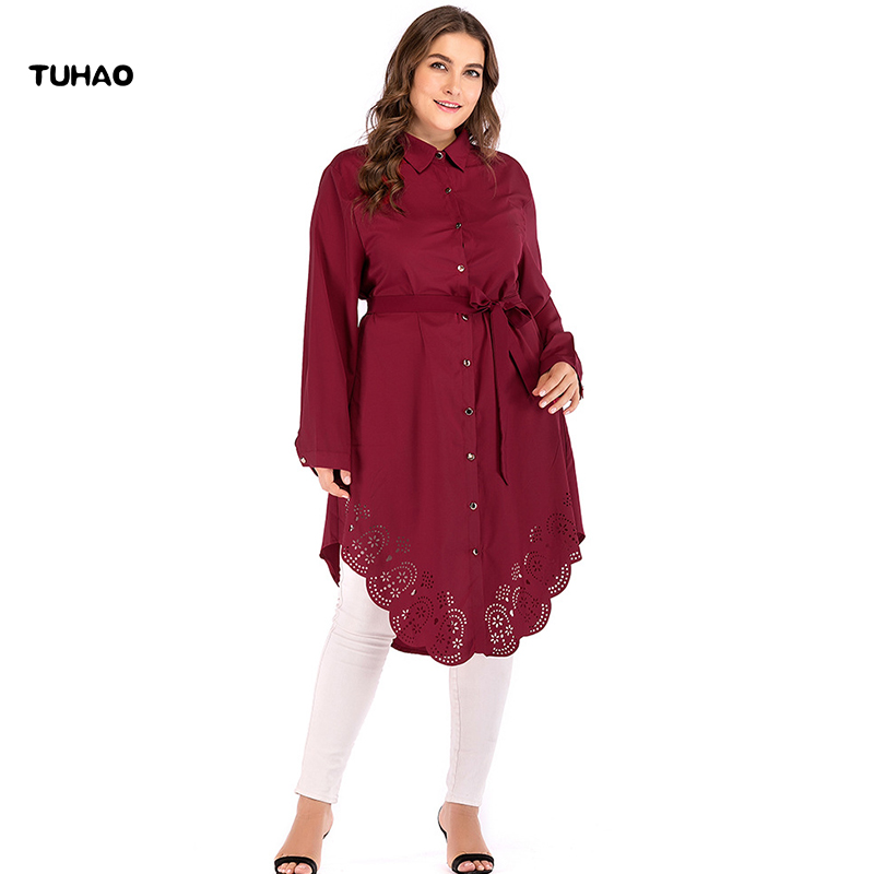 TUHAO Plus Size 5XL 4XL 6XL Muslim Dresses 2018 Autumn Winter Office Lady Shirt  Dress Long Sleeve Loose Dresses for Woman CM82 93db62164c42