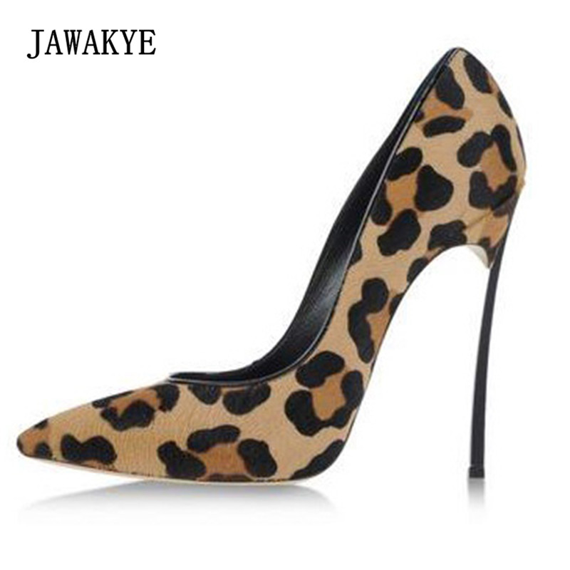 2018 Sexy Horsehair High Heel Shoes Woman Pointed Toe Leopard Metal Thin Heel Pumps Women Fashion Party Shoes Dress sexy high heel pointed toe cross tied super high thin heels lace up leopard women stilettos party fashion shoes leopard print