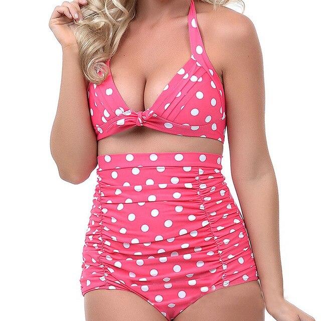 fc7336ca27 Hot High Waist Bikini Sets Retro Pinup Rockabilly Vintage Sexy Swimsuit  Swimwear Push Up Bathing Suit