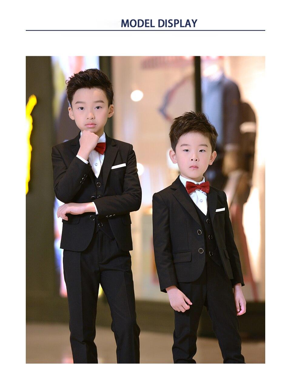 5 piezas niños trajes de niño chico formal traje de ropa para boda esmoquin  estudiante adolescente ropa de los niños traje de fiesta 27a92837f829