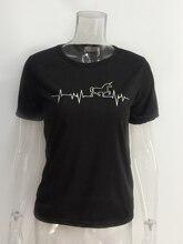 Women's Cotton Unicorn Pulse Printed T-Shirt