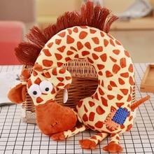 Cute Kids Travel Neck Pillow Giraffe Plush Toy Headrest Cushion Cartoon Stuffed Animal U Shape Cushion