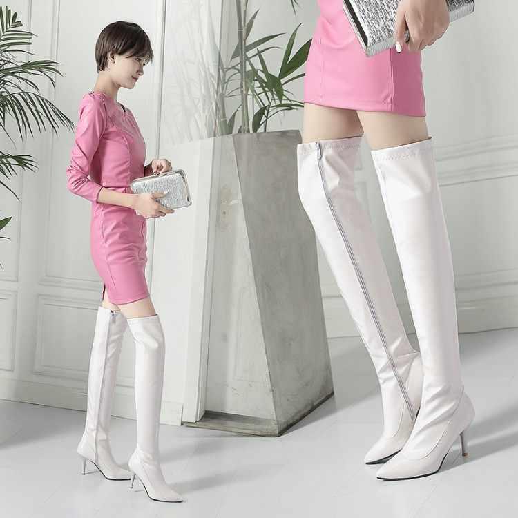 Модные высокие сапоги в европейском стиле пикантные Сапоги выше колена на высоком каблуке 8,5 см для ночного клуба, для девочек туфли на шпильке из лакированной кожи