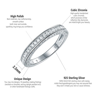 Image 4 - Newshe 925 Sterling Silver Straight Stackable Wedding Ring Engagement Band For Women Trendy Jewelry Size 5 12
