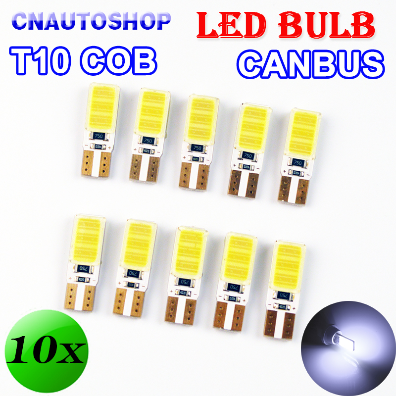 10 PCS 12V 5W T10 COB CANBUS 194 W5W LED Bulbs Super Bright Error Free Car Light Automotive No Errors CAN BUS Lamps White Color 10pcs super bright led lamp t10 w5w 194 6smd 4014 error free canbus interior bulb white for car dc 12v free shipping new