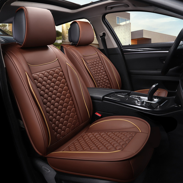 Stereoscopic Design Car Seat Covers Atificial Leather Water Proof Cover Black Coffee Beige