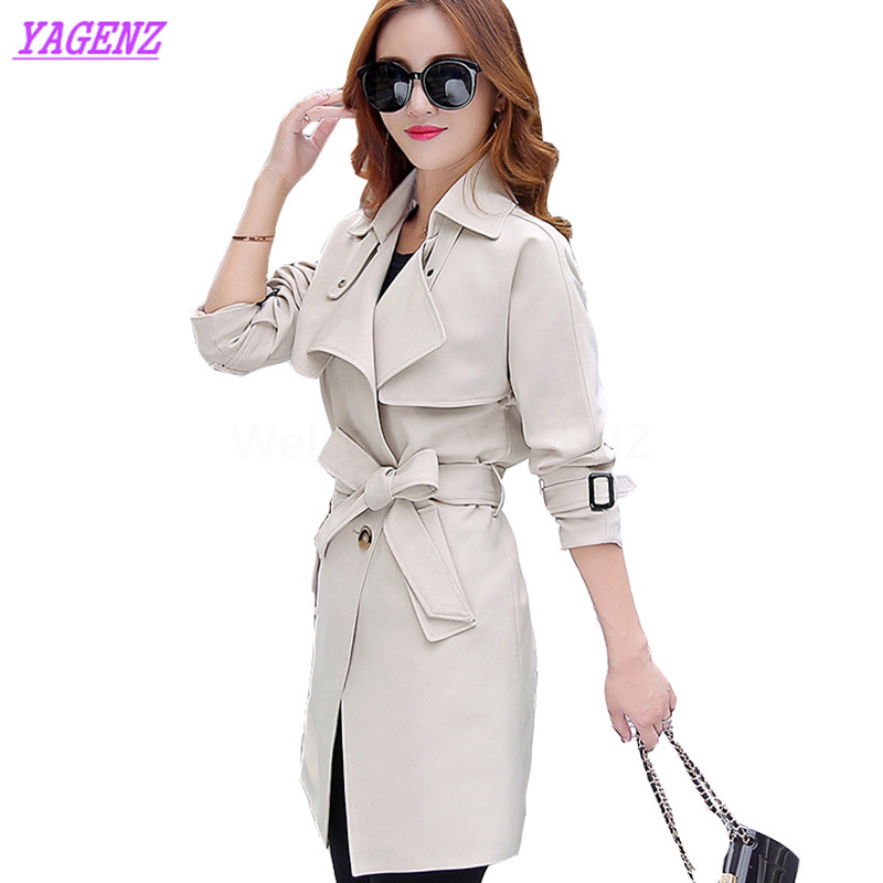 New 2018 Spring autumn Long Windbreaker coat Women fashion Slim   Trench   coat Young Women Double breasted temperament overcoat 364