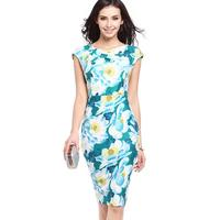 Women S Knee Length Dress Overalls Small Fresh Multi Color Flowers Printed Round Neck Short Sleeved