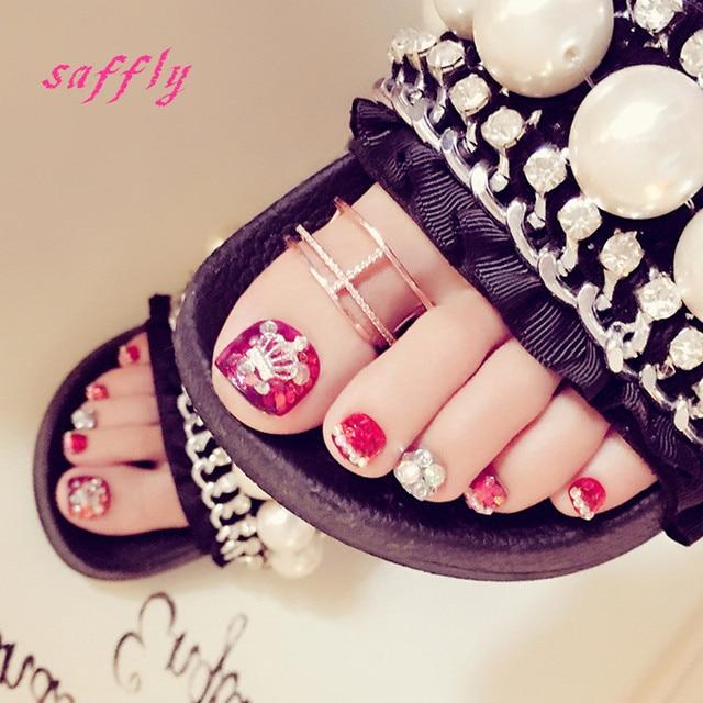 High quality Magazine style 24pcs/lot summer Bright colors toenails ...
