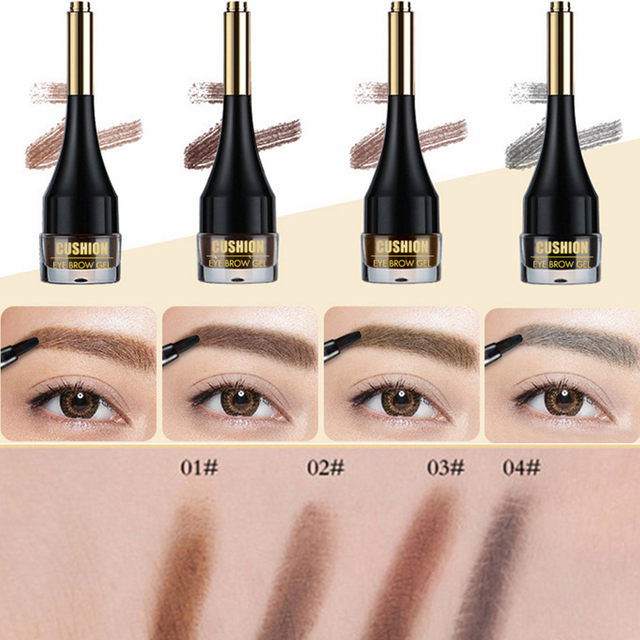 4 Color Eyebrow Cream Enhancers Long-lasting Waterproof Air-cushion Dye Eye Brows Gel Brown Tinted Liquid Eyebrows Tint Makeup 2