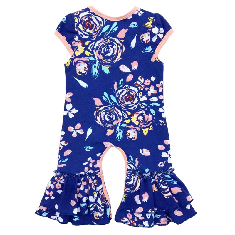 abbc781a5bf Vintage floral Newborn baby romper Baby Girl Short Sleeves jumpsuit  christmas Infant Sleeper pajama dusty blue baby girl gown-in Rompers from  Mother   Kids ...