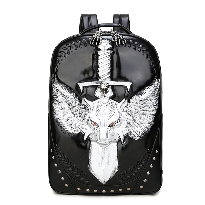 3D Wolf Vintage Men Backpack Gothic Punk Rock School Backpack Boys Men Laptop Shoulders Bag Fashion Cool Travel Male Backpack 3d bat punk cool rock women men pu backpack 3d carving embossing cool school bag laptop travel rucksack hip hop daily backpacks