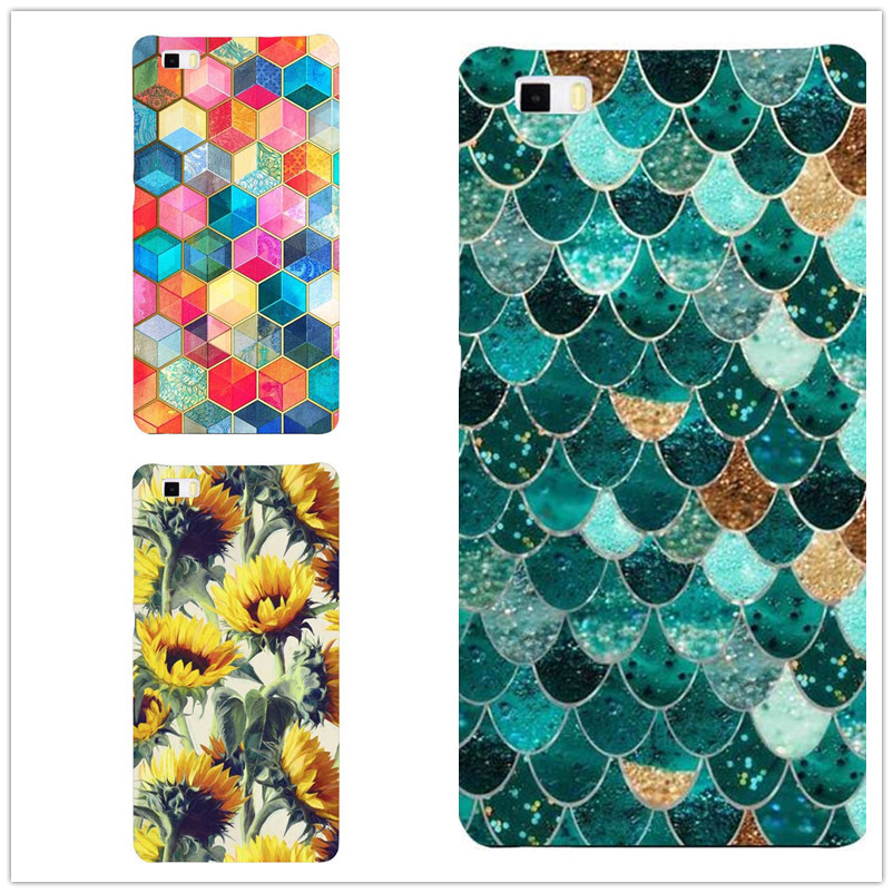 New Fashion Colorful Fish Scales flowers Phone Cases For Huawei P8 P9 Lite Hard Plastic Shell