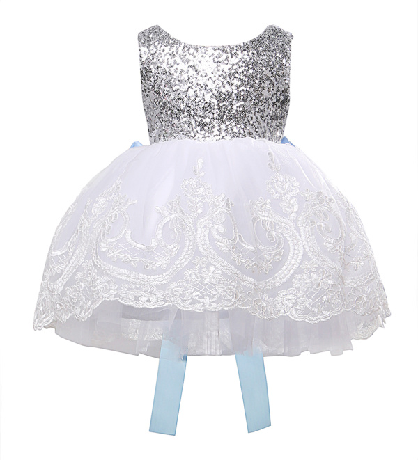 Hot Sale Baby Kids Girl Bowknot Lace Dress XMAS Party Formal Bridesmaid Sleeveless Sequins Tulle Tutu