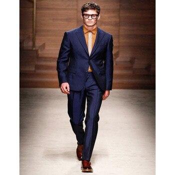 New Style Blue Groom Wedding Suits For Men Custom Tuxedo 2018 slim Peaked Lapel 2 piece Mens Suit terno masculino (jacket+pants)