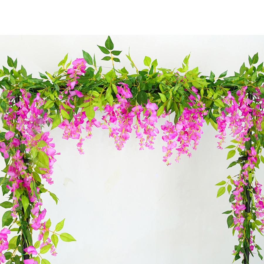 2M Wisteria Artificial Flowers Fake Plants For Wall And Indoor Decoration 2