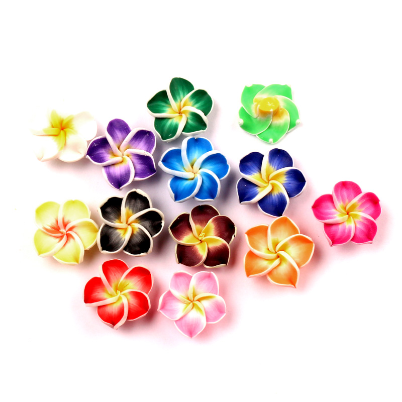 LF 30Pcs Mixed Clay Flower 18mm Decoration Crafts Flatback Cabochon Scrapbooking Embellishments Kawaii Diy Accessories